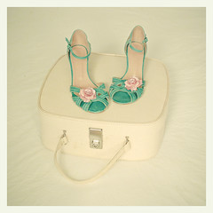Summer Romance (_cassia_) Tags: pink flowers blue rose handle bed shoes soft sandals turquoise pastel cream suitcase buckle straps duvet lolasroom vanitycase balletcase