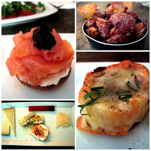 salmon potatoes cheese truffled ham