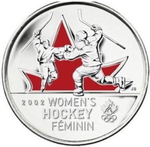 25 centov Kanada 2009 OH Vancouver Ženský hokej