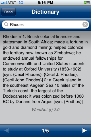 Dictionary Lookup on iPhone