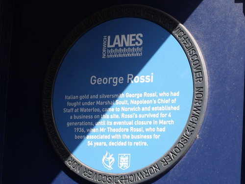 Discover Norwich Blue plaque of George Rossi