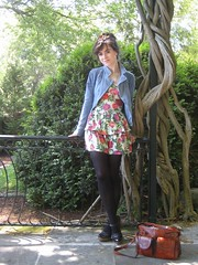 an afternoon at cheekwood (bloomingleopold) Tags: flowers vintage spring nashville urbanoutfitters cheekwood forever21 blacktights ruffledress bloomingleopold motorcycledenimjacket woodwedgeheels