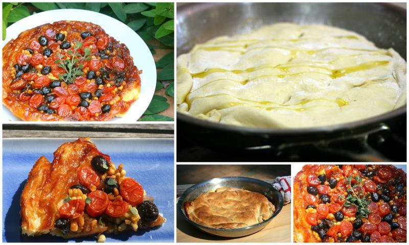 ... tomato, olive, onions and corn tarte-Tatin (upside down tart) with
