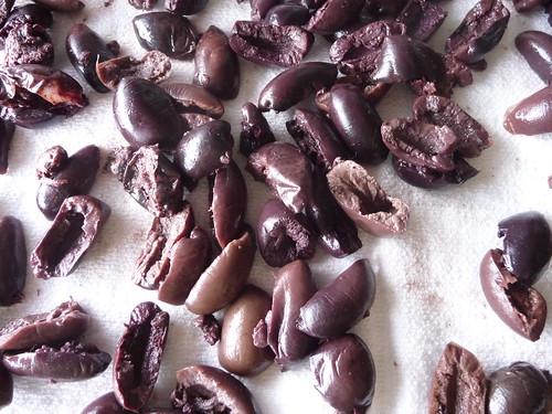 draining olives