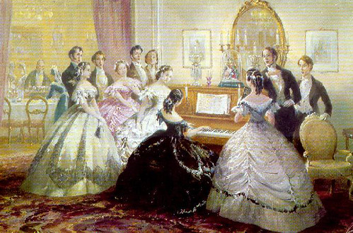 Victorians gathered 'round the piano