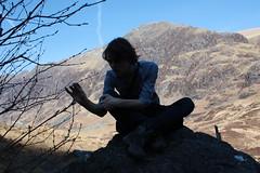 Luke Silhouette, Glencoe (dgrendon) Tags: uk boy portrait people boys silhouette landscape amazing sitting luke bluesky glen indie glencoe coe canon450d scotlund