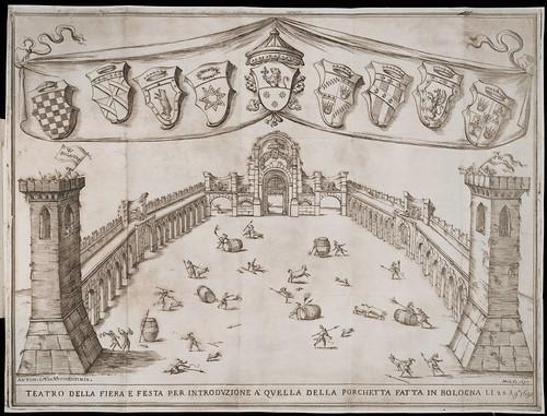 Relazione e disegno della fiera per la solita festa popolare della Porchetta fatta in Bologna il di 24. agosto 1693