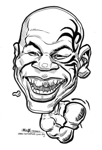 caricature of Mike Tyson