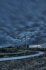 Red Tower. (David Giron) Tags: california light lake tower night clouds photography long exposure low trails merced nighttime ambient lonely ambience hdr