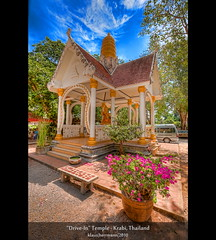 """Drive-In"" Temple - Krabi, Thailand (HDR) (farbspiel) Tags: travel blue red vacation holiday colour green tourism colors sunshine yellow clouds photoshop geotagged thailand religious temple amazing nikon worship colorful asia asien southeastasia sdostasien colours cloudy buddhist religion wolken belief wideangle bluesky holy journey mystical colourful spiritual wat dri blauerhimmel hdr highdynamicrange krabi tha farben tempel heilig monopod sonnenschein superwideangle wolkig niceweather 10mm postprocessing glaube buddhismus dynamicrangeincrease ultrawideangle d90 schneswetter photomatix religis watthamsua tonemapped tonemapping farbenpracht detailenhancer topazadjust topazdenoise topazsoftware sigma1020mmf35exdchsm topazphotoshopbundle geo:lat=812472360 geo:lon=9892482200"