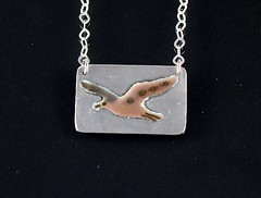 """""""Seagull"""" Enameled Silver Necklace (EfratJewelry) Tags: silver handmade jewelry jewellery sterling 925 enamel silversmith metalsmith sterlingsilver           efratjewelry"""