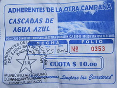 Aqua Azul 022 - Zapatista ticket (Ben Beiske) Tags: mexico chiapas mexiko aquaazul