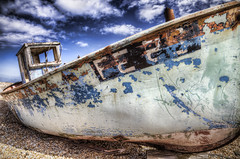 FE25 Wreck (ShrubMonkey (Julian Heritage)) Tags: sky abandoned beach decay dungeness wreck fishingboat hdr wwb wwh photographyrocks alltypesoftransport fe25