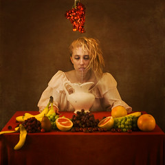 dinner for two (brookeshaden) Tags: lighting fruit blog milk cherries banana explore grapes pear vase grapefruit pitcher frontpage brookeshaden texturebylesbrumes