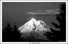 Shine On (Sherrye's Art) Tags: blackandwhite bw mountain snow nature oregon landscape evening mthood justbeforesunset sherryenozaki allmyimagesarecopyrightprotectedandallrightsarereservednoformofreproductionormanipulationincludingcopyingorsavingasadigitalfileispermitted