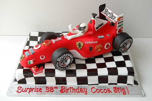 Ferrari F1 Race Car Birthday Cake - front
