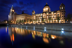 Reflections of the Three Graces Liverpool pier head. (Ianmoran1970) Tags: city blue urban reflection building architecture night port liverpool canon landscape evening three canal leeds royal threegraces gt liver cunard pierhead graces merseyside liverbuilding leedsliverpoolcanal 50d portofliverpool cunardbuilding ianmoran junephotochallenge ianmoran1970