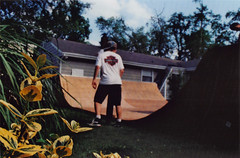 Kyle's Ramp (smock,kevin) Tags: friends summer film k matt kyle fun woods kevin nap skateboarding ben brian ant mount harvey anthony mm 35 rohr smock defillippo pentaxme napolitano dasilva halbes photogrpahs firstwheelfilms