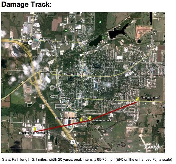 Harrisonville Tornado damage track 6-8-10