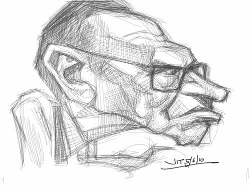 Larry King sketch with iPad Sketchbook Pro