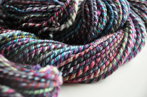 FCK sw merino & Polwarth-Violet Blue 2 strands-1 strand purple colorway from MB fiber club-~ 163yds worsted weight-7