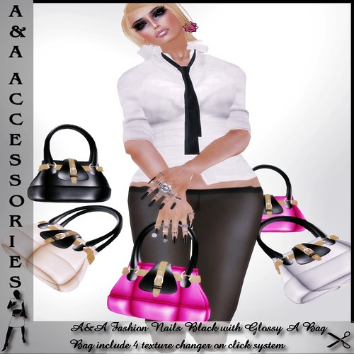 A&A Fashion Bag Glossy A  with Nails Black