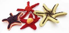 Crocheted starfishes (Julia Kolbaskina) Tags: beads knitting starfish handmade brooch crochet jewelry jewellery knitted crocheted
