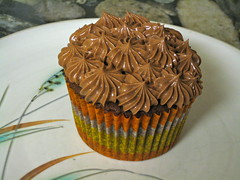Chocolate Butter Cupcakes with Chocolate-Egg White Buttercream