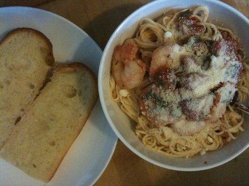 Shrimp Pasta and garlic bread