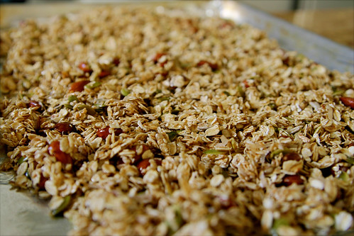 granola ready to go into the oven