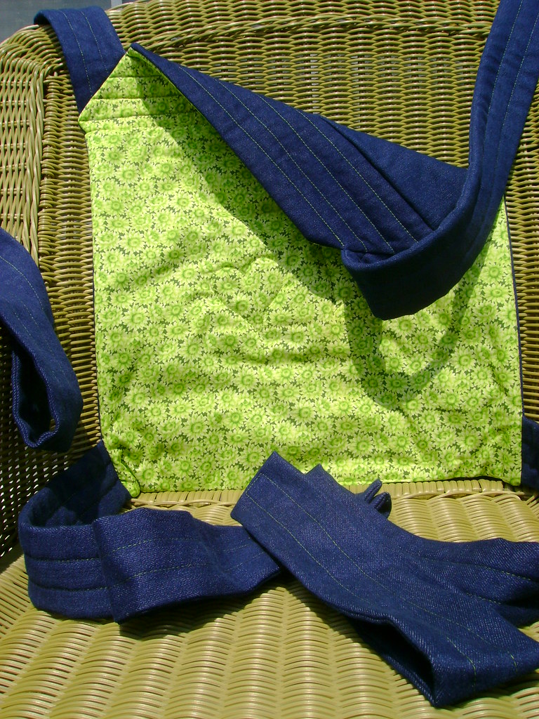 4-A)Blue denim and green floral cotton baby carrier,Mei Tai(one available)