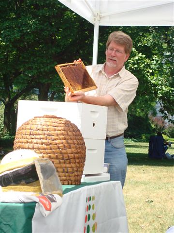 Dr. Pettis showed us a frame from a beehive and explained the functions of the different parts within the hive.
