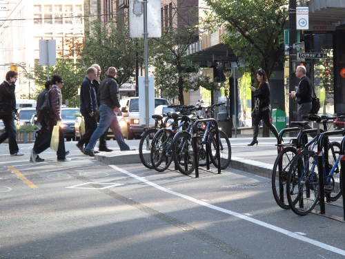 bike parking on dunsmuir bike lane