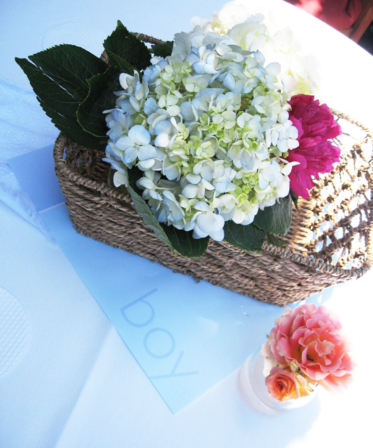 hydrangeas+succulents+roses+its a boy+baby shower decor ideas -3