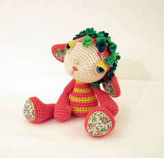 Little Red 3 (ElisabethD) Tags: flowers red green yellow toy handmade crochet plush softie fiberart amigurumi elisabethdoherty bethdoherty