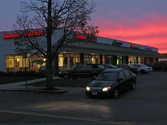 Boston Market Sundown (denizen8) Tags: sunset landscape parkinglot massachusetts pinksky stripmall malden carheadlights denizen8 20101107008a