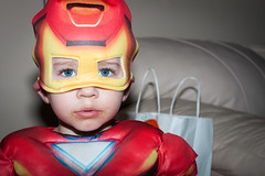 Baby Jordan aka IRON MAN (PhotoKat57) Tags: blue boy baby cute love halloween smile canon snuggle happy 50mm eyes adorable ironman 2years 40d