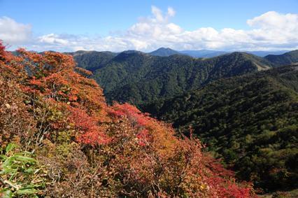 大岩上部の紅葉と石立山方面