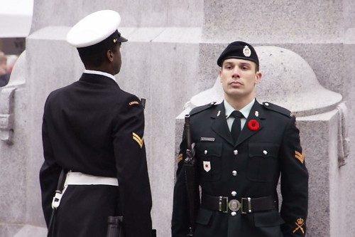 Changing of The Guard. Remembrance Day 2010 in Vancouver Canada at Victory Square Cenotaph. Lest we Forget. Military Memorial.