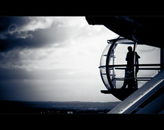 London Eye (Yug_and_her) Tags: city uk england sky people reflection london eye glass wheel silhouette clouds couple looking view candid over together krishlikesit