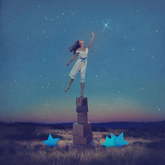 paper stars (brookeshaden) Tags: brookeshaden fineartphotography conceptualart conceptualphotography fineart selfportrait surrealism whimsical fairytale dreaming shootingstar paperstars