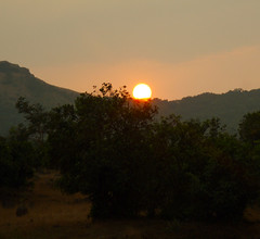 Sunset over the hills (Deutero) Tags: trees sunset sun sony a200 ontheroad bhandardara