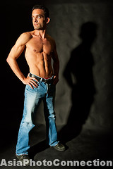 TWNhw1680 (Henry Westheim Photography) Tags: shadow portrait people man black male muscles standing studio person one 1 photo clothing shot adult muscular stock handsome indoor stomach full clothes jeans denim casual inside years fitness length abs fit confident ethnicity confidence caucasian abdomen attire physically backround 3035 shirtlessno shirttopless