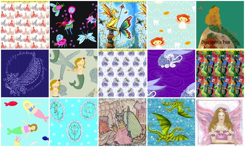 just a few of the 40 mythical-beast fabrics pictured here- vote now