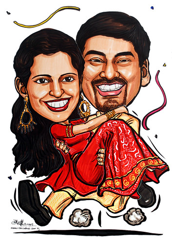 ndian wedding couple caricatures 311209