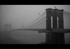 Brooklyn's Last... (Josh Liba) Tags: leica old city nyc bridge light blackandwhite bw white snow cinema newyork storm black texture film look fog stone brooklyn last vintage dark movie grit lumix december moody gloomy sad state panasonic explore empire melancholy flakes blizzard 169 iconic 2009 31st bestofthebest 16x9 disappearing gristle explored lx3 dmclx3 joshliba aliciakeysissobeautiful