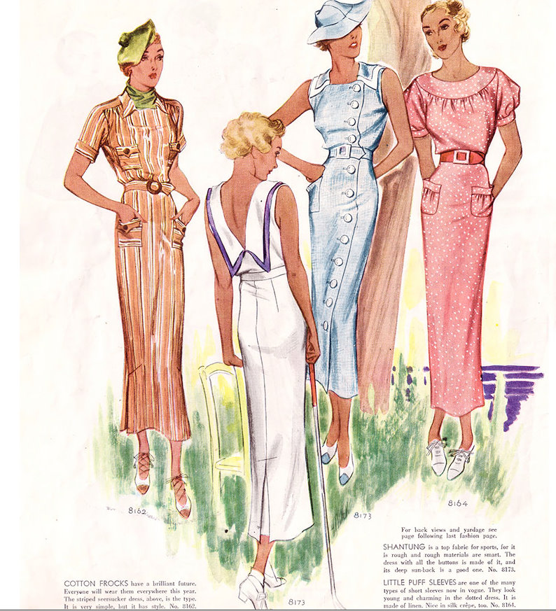 1930s summer cotton dresses