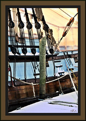 Ship in the Snow (SRApix) Tags: blue snow dutch lines dock ship swedish rope greenhouse delaware wilmington 1638 christinariver kalmarnyckel frameit pinnace