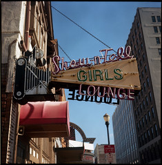 Show-n-Tell (deatonstreet) Tags: camera 120 film sign analog vintage store downtown neon kentucky louisville automat chestnutstreet twinlensreflex flexaret meopta kodakektar100 schuhmanns