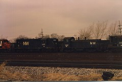 A Winter scene in a southside Chicago railroad scrapyard. Chicago Illinois. Febuary 1986.